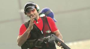 Chenai Keynan in Trap during Asia Olympic Qualifying Competition for Shooting in New Delhi on Thursday. EXPRESS PHOTO BY PRAVEEN KHANNA 28 01 2016.