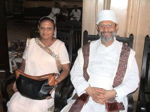 Dasturji Peshotan Dastur Hormazdyar Mirza with his wife Mahrukh at the Navar Ceremony of Ervad Rehan Darbari in the Jeejeebhoy Dadabhoy Agiary, Colaba